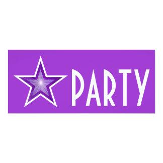 Purple Star 'PARTY' invitation purple long