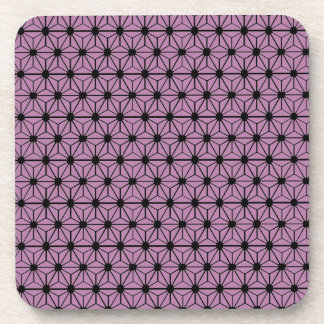 purple star pattern with black line drink coaster