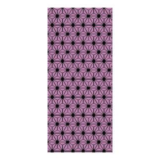 purple star pattern with black line rack card