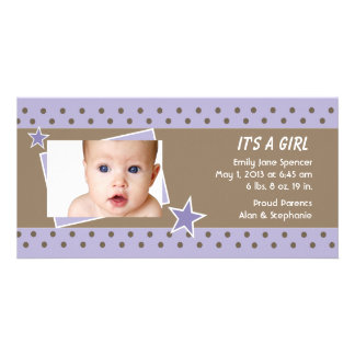 Purple Star Photo Birth Announcement