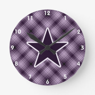 Purple Star Round Clock