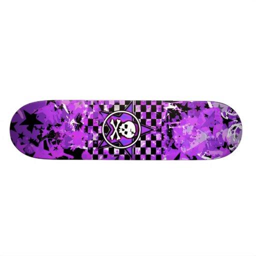 Purple Star Skull Skateboard