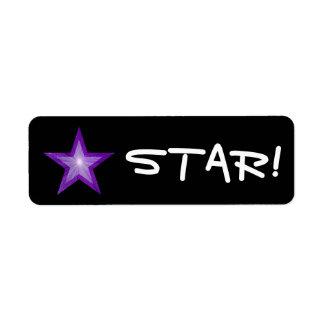 """Purple Star """"STAR!"""" label small black"""
