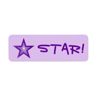 "Purple Star ""STAR!"" label small pale purple"