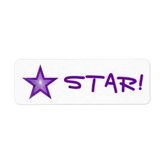 """Purple Star """"STAR!"""" label small white"""