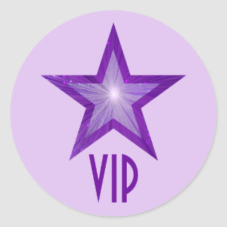 Purple Star VIP round sticker pale purple