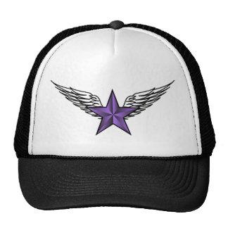 purple star with wings trucker hat