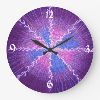 Purple Starburst Large Clock