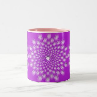 Purple starburst mandala ceramic mug