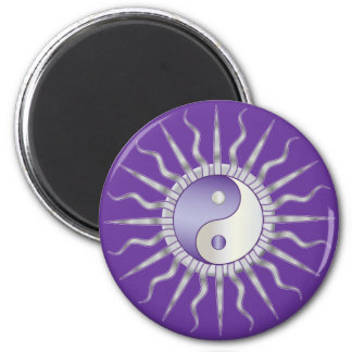 Purple Starburst Yin Yang 2 Inch Round Magnet