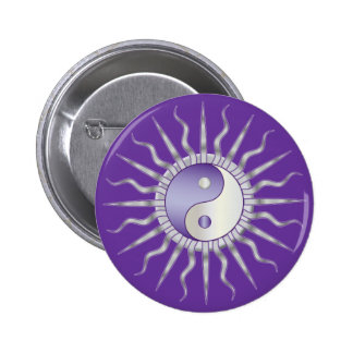 Purple Starburst Yin Yang Button