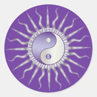 Purple Starburst Yin Yang Classic Round Sticker