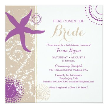 Beach Themed Purple Starfish Beach Bridal Shower Card