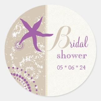 Purple Starfish Beach Bridal Shower Classic Round Sticker