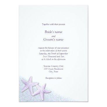 Beach Themed Purple Starfish Beach Wedding Invitations