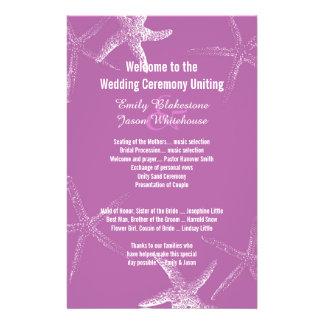 Purple Starfish Beach Wedding Program Template