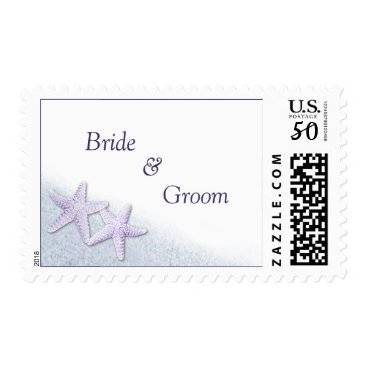 Beach Themed Purple Starfish Beach Wedding Stamps