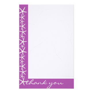 Purple Starfish Border Blank Thank You Paper