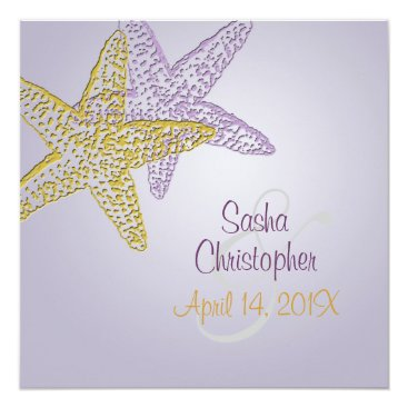 Beach Themed Purple starfish invitations/DIY any occasion Card
