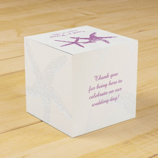 Purple Starfish On White Beach Wedding Favor Box