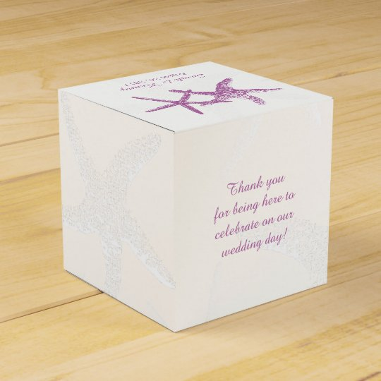 Purple Starfish On White Beach Wedding Favor Box Zazzle