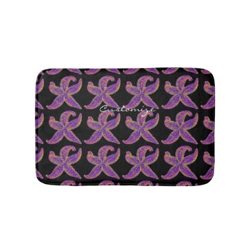 Beach Themed purple starfish pattern black bath mat