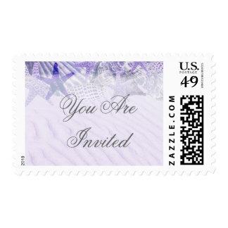 Purple starfish seashell beach wedding seashell1 stamps