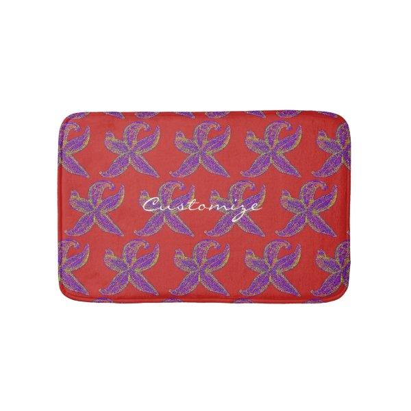 purple starfish Thunder_Cove any color Bathroom Mat
