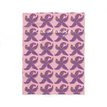 Beach Themed purple starfish Thunder_Cove any color Fleece Blanket