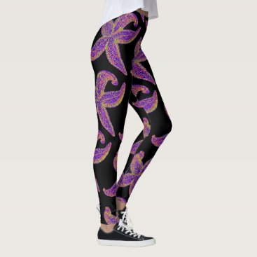 Beach Themed purple starfish Thunder_Cove black Leggings