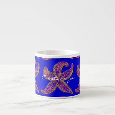 Beach Themed purple starfish Thunder_Cove blue Espresso Cup