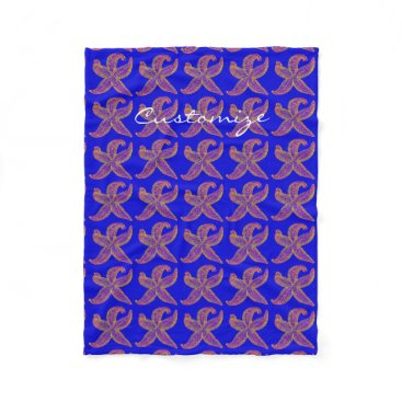 Beach Themed purple starfish Thunder_Cove blue Fleece Blanket