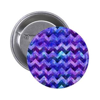 Purple Starry Galaxy Watercolor Chevron Pinback Button