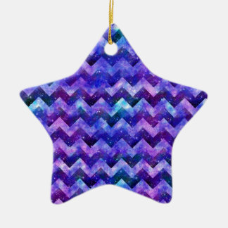 Purple Starry Galaxy Watercolor Chevron Ceramic Ornament