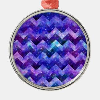 Purple Starry Galaxy Watercolor Chevron Metal Ornament