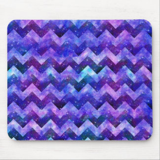 Purple Starry Galaxy Watercolor Chevron Mouse Pad