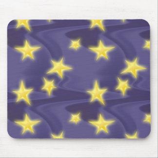 Purple Starry Night; Yellow Stars Pattern Mouse Pad