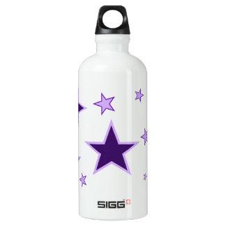 Purple Stars Aluminum Water Bottle