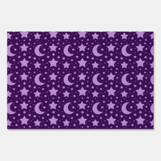 Purple stars and moon patterns lawn sign