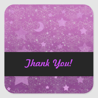 Purple Stars and Moons Square Sticker
