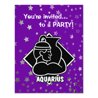 Purple Stars | Aquarius Birthday Zodiac Sign Card