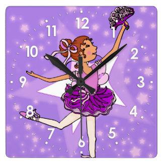 Purple stars ballerina girls wall clock