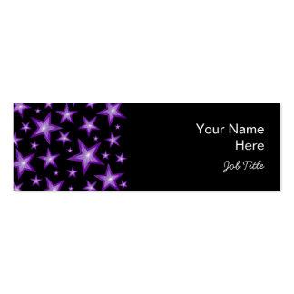 Purple Stars business card side black skinny