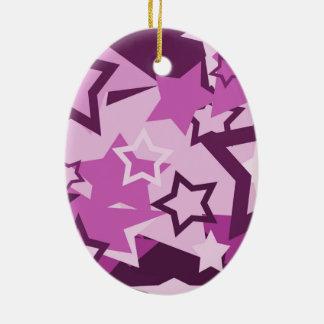 Purple stars ceramic ornament