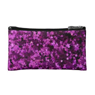 Purple stars design cosmetic bag