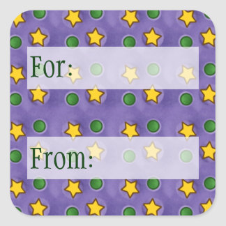 Purple Stars & Dots Gift Tag Square Stickers