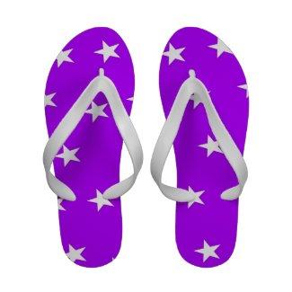 Purple stars flip flops for women