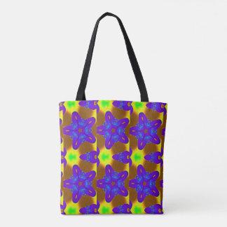 purple stars green floral geometric tote bag