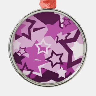 Purple stars metal ornament
