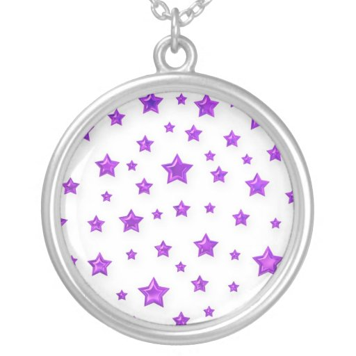 Purple Stars On White Necklace
